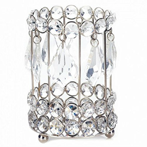 Candlelight Gems - Smart Living Pyonlala Iron with Crystals Teardrop Glass Gems Dangle Candlelight Bounces Super Bling Crystal Drops Candle Holder 5.25 inches