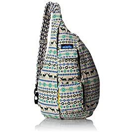 KAVU Rope Bag Cotton Shoulder Sling Backpack 7 Pockets: 1 interior zip, 3 exterior Pockets: 1 interior zip, 2 exterior