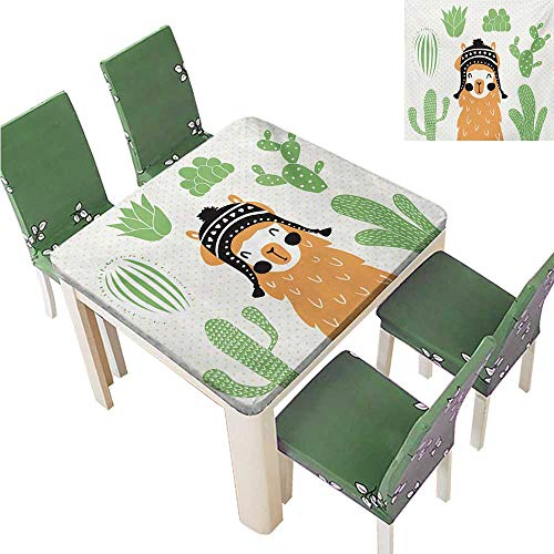 (Indoor/Outdoor Tablecloth,Llama in A Traditional Ethnic Bolivian Hat Smiling Comic On Polka Dots Illustration Table Cover for Dining Room,37.5W x 76.5L Inches(Elastic)