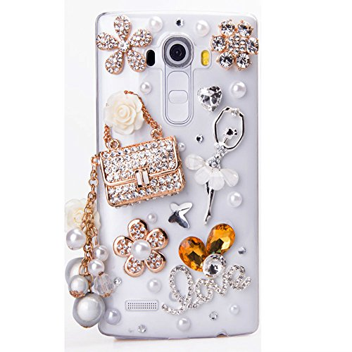STENES LG X Charge Case - STYLISH - 100+ Bling Crystal - 3D Handmade Ballet Girl Bag Pearl Pendant Flowers LOVE Design Protective Case for LG X Power 2 /LG ()