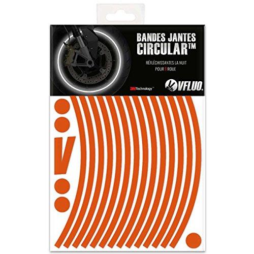 VFLUO CIRCULAR™, Kit bandes jantes moto rétro réfléchissantes (1 roue), 3M Technology™, Liseret largeur normale : 7 mm, Orange