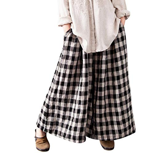 TOPUNDER Boho Check Plaid Long Pants for Women Baggy Wide Leg Pockets Loose Casual Trousers