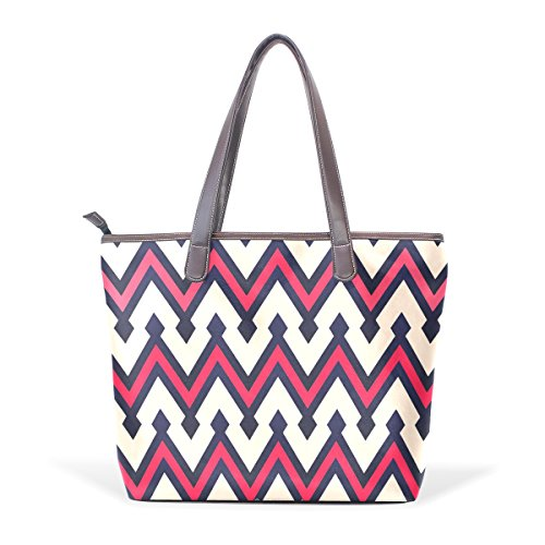 Coosun Chevron Design Large Leather Handle Bag Shoulder Tote Bag Hand Pu M (40x29x9) Cm Multicolor # 001