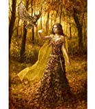 Fashion Wall Decal Needlework Full Embroidery Painting Cross Stitch Fantasy DIY Square Diamond Painting Kits Cross Stitch Owl Beauty (30x40cm/11.815.75inches)