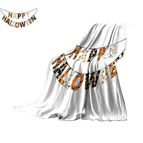 RenteriaDecor Halloween,Personalized Blankets Happy Halloween Banner Greetings Pumpkins Skull Cross Bones Bats Pennant Throw Rug Sofa Bedding W80 x L60 inch