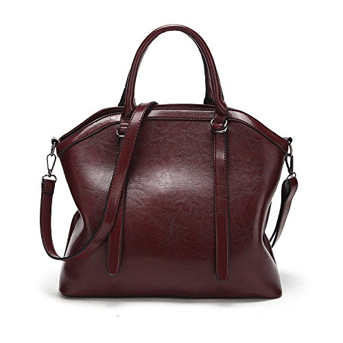 Messenger Large Purple Handbag Wax Bag Capacity Portable Leather Bag Elegant Vintage Shoulder Women's Oil w6P8q
