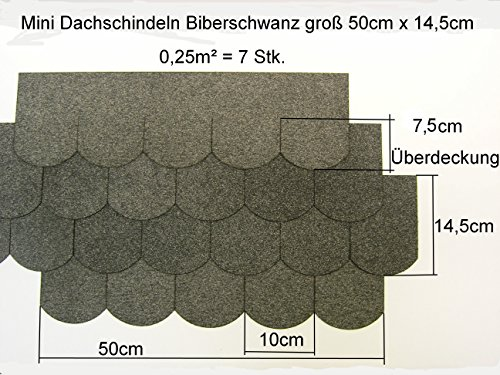 Mini - Dachschindeln Biberschwanz (100 mm) - Grau