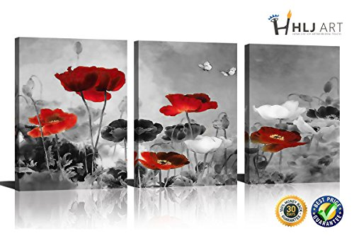 HLJ Modern Poppies Butterfly Fly Over The Black and White Red Flower Abstract Painting Still Life Canvas Wall Art for Living Room Decor 3pcs/set (A-RF, 16x24inchx3pcs)