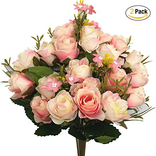 CATTREE Artificial Flowers, Budding Fake Flowers Bouquet 5 Branch 10 Heads Silk Roses Bridal Home Garden Office Dining Table Wedding Decor (Pink Champagne) 2 pcs - Pink And Champagne Wedding