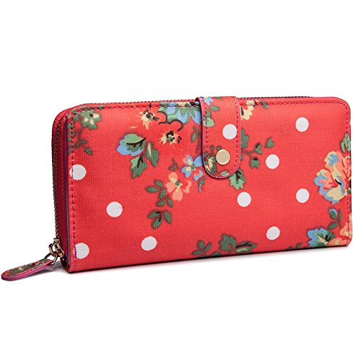 Miss Lulu Designer Oilcloth Owl Spot Polka Dots Butterfly Zip Wallet Purse Clutch (medium, Flower Plum) (Dot Zip Purse)