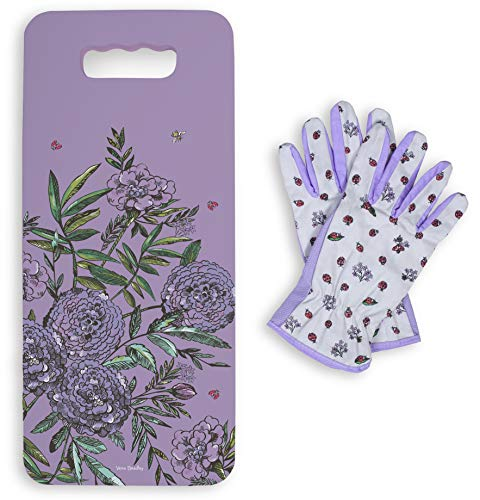 Vera Bradley Women's Garden Cushion and Glove Set, Lavender Meadow