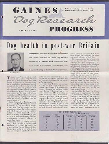 GAINES Dog Research Progress Spring 1948 Dog Health in Post-War Britain +