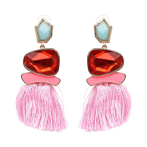 - Tassel Earrings Cute Dangle Crystal Earring Thread Jewelry Bohemian Drop Earrings (Pink)