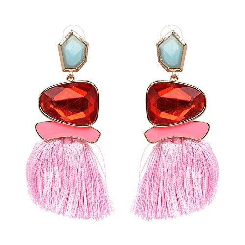 Tassel Earrings Cute Dangle Crystal Earring Thread Jewelry Bohemian Drop Earrings (Pink) ()