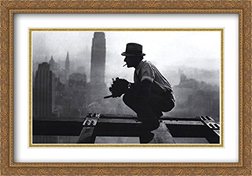 NYC - RKO Building, c.1932 2X Matted 40x28 Large Gold Ornate Framed Art Print by Charles C. Ebbets 1932 Gold Framed Print