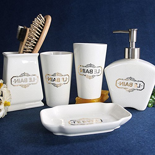 GTVERNH-Recipients Of Gifts Ceramic Wash 5-Piece Set The Mouthwash Cup Toilet Brush Appliances Bathroom Toiletries Kit
