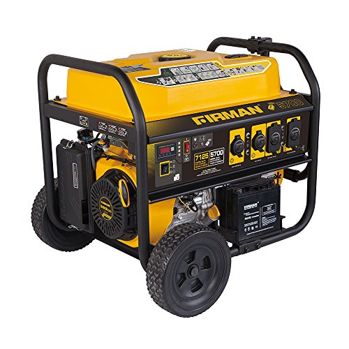 Firman P05702 7100/5700 Watt 120/240V Remote Start Gas Portable Generator, Black