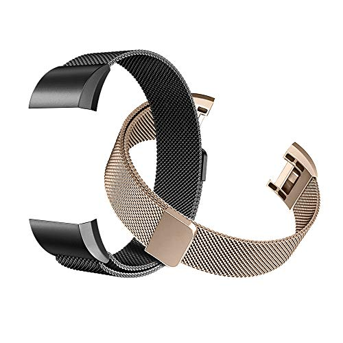 Tecson Magnetic Bands Compatible Fitbit Charge 2 (Pack of 2), Stainless Steel Metal Milanese Replacement Strap with Magnet Lock for Fitbit Charge 2, Champagne Gold and Black