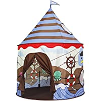 Homfu Play Tent for Kids Castle Playhouse for Children Boys Viking Pattern Popup Tent (Viking Brown)