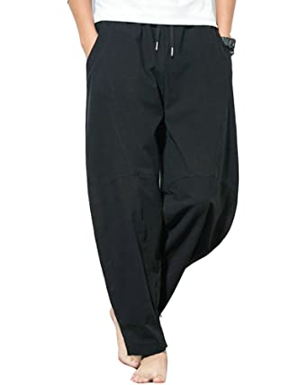 5d2430f278 Classic Pink Mens Baggy Drop Crotch Pants Cropped Wide Leg Lounge Beach  Trousers with Pockets Black