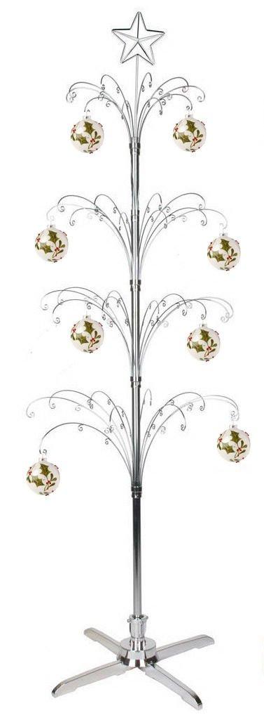 HOHIYA Metal Christmas Ornament Display Tree Rotating Stand Chrome Plated 90 Hooks 74inch(Silver)