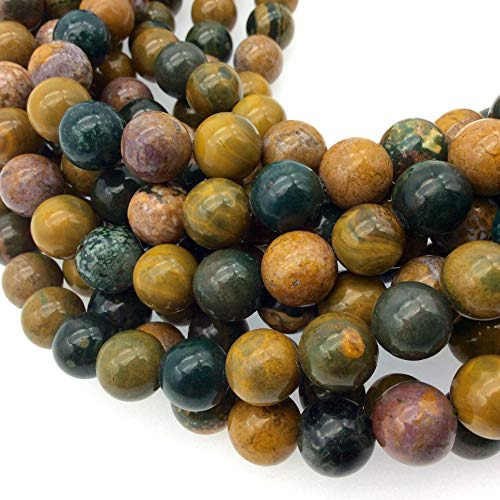 10mm Natural Ocean Jasper Round/Ball Shaped Beads - Sold by 15.5