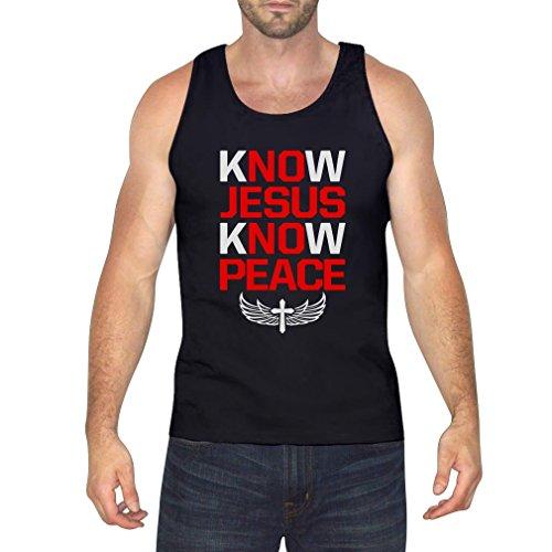 TeeStars Men's - Know Jesus Know Peace Singlet Large Black