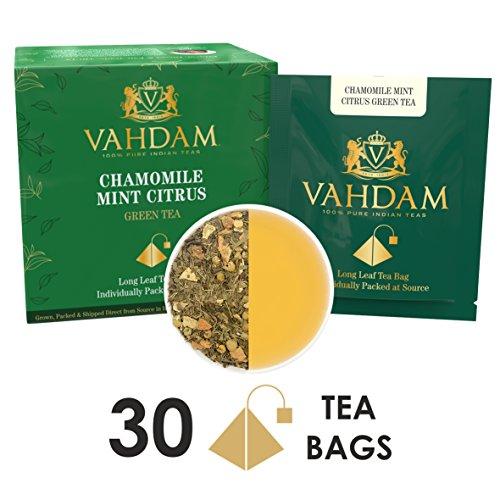 Chamomile Mint Citrus Green Tea Leaves, 15 Tea Bags (PACK OF 2), Long Leaf Green Tea Bags, 100% Natural Detox Tea, Weight Loss Tea, Slimming Tea - Chamomile, Orange Peels, Peppermint, Spearmint