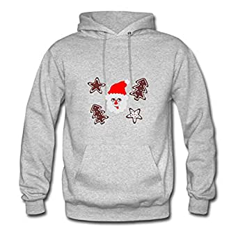 X-large Women Christmas Design Chic Personalized Grey Cotton Hoody