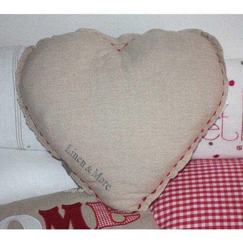 Corazón de cojín Home Beige/rojo corazón Cojín Linen & More ...