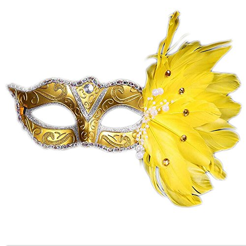 Make Anubis Costume (QINJH Mosaic Merry Christmas Halloween Feather Mask Masks Birthday Party (Yellow))