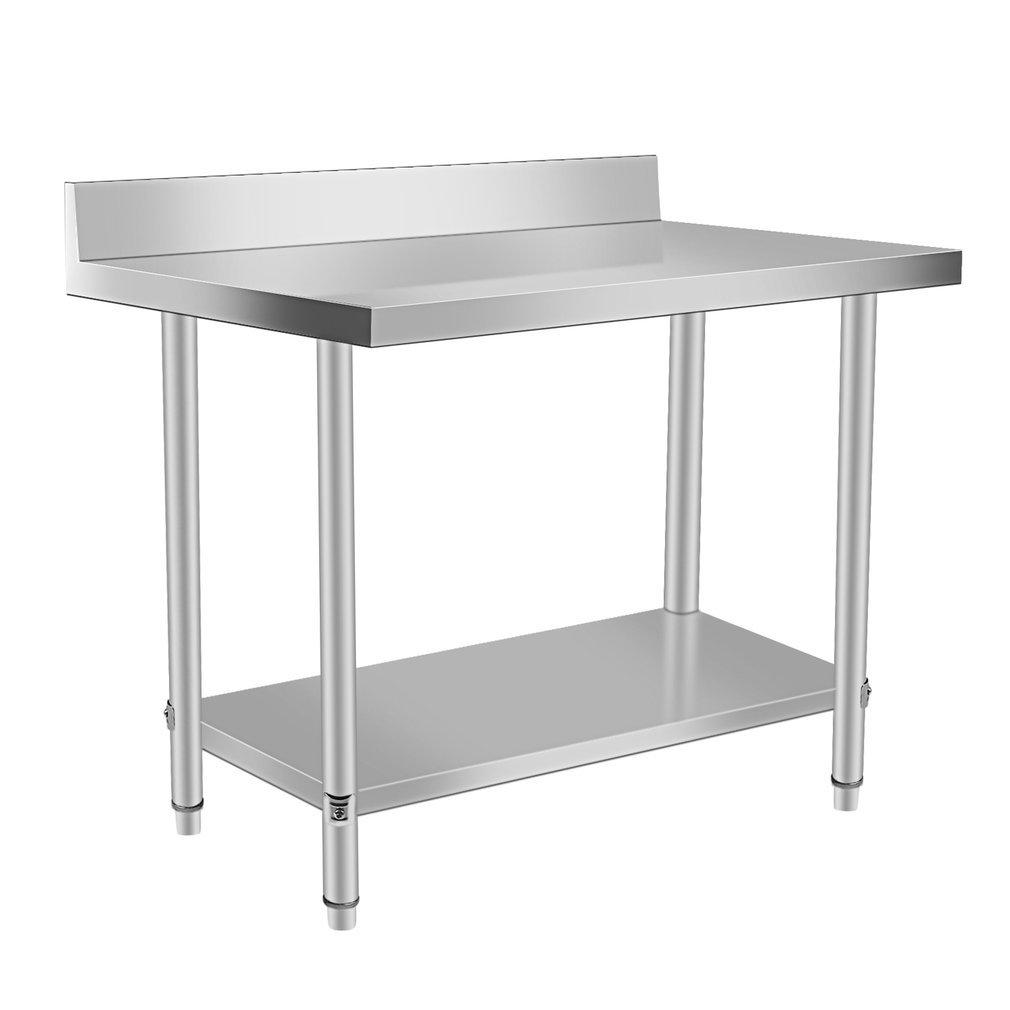 Schwarzpoolal Arbeitstisch Edelstahl Garten Küche Gastro Tisch Edelstahltisch Küchentisch Arbeitstisch Anrichte Silber (120 x 60 x 95CM)