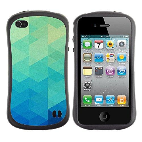Apple Iphone 4 / 4S [Triangle Art Euro Blue Moda Pattern Parallax]
