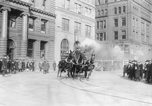 NYC Fire Department's Horse Drawn Engine - Vintage Photograph (12x18 Art Print, Wall Decor Travel Poster)