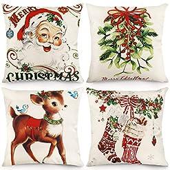 Christmas Farmhouse Home Decor CDWERD Christmas Throw Pillow Covers 18×18 Inches Vintage Farmhouse Christmas Decorations Pillowcase Cotton Linen… farmhouse christmas pillow covers