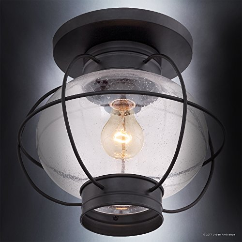 Luxury Nautical Outdoor Ceiling Light, Small Size: 10.5''H x 11.5''W, with Art Deco Style Elements, Cage Design, High-End Black Silk Finish and Seeded Glass, UQL1034 by Urban Ambiance by Urban Ambiance (Image #4)