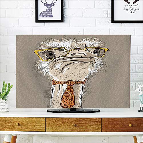 iPrint LCD TV Cover Multi Style,Indie,Sketch Portrait of Funny Modern Ostrich Bird with Yellow Eyeglasses and Tie,Taupe Beige Yellow,Customizable Design Compatible 37