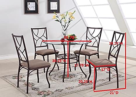 Amazon.com - Kings Brand 5 Pc. Set Brand Round Glass & Metal Dining Room Kitchen Table And 4 Chairs - Table & Chair Sets