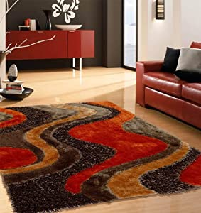 shaggy brown with orange area rug 5 ft x 7 ft 152 in x 214 in free rug pad. Black Bedroom Furniture Sets. Home Design Ideas