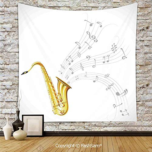 FashSam Hanging Tapestries Illustration of Wavy Music Tune from Saxophone Solo Party Beat Fun Art Home Decor Wall Blanket for Living Room Dorm Decor(W39xL59)