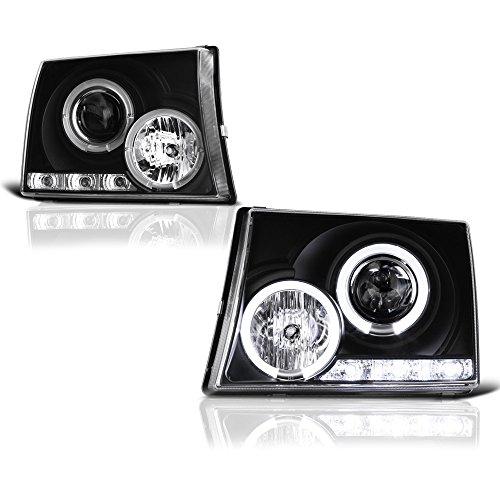 99 Toyota Tacoma Headlights - [For 1997-2000 Toyota Tacoma Pickup Truck] LED Halo Ring Black Projector Headlight Headlamp Assembly, Driver & Passenger Side