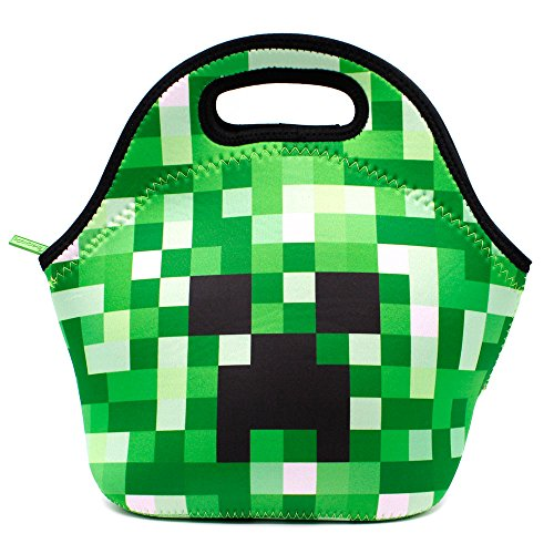 School Boys Neoprene Insulated Lunch Tote Bag Waterproof Travel Outdoor Carrying Lunch Box Container Case For Kids Girls (Green)