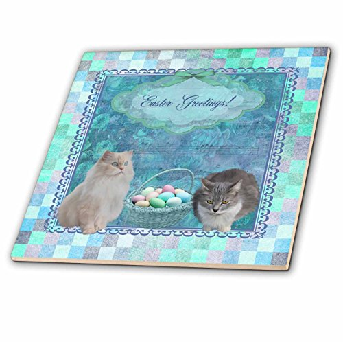 Musical Christmas Egg - Beverly Turner Easter Design and Photography - Kitty Cats with Easter Basket of Eggs on Musical Sheet Background, Aqua - 6 Inch Ceramic Tile (ct_174048_2)