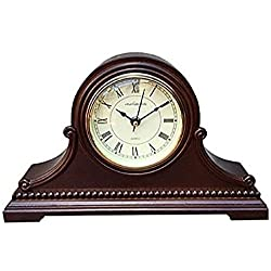 Vmarketingsite Mantel Clocks Wood Mantel Clock with Westminster Chime. This Solid Wood Decorative Chiming Mantel Clock Is Battery Operated. Quiet, Shelf Mantel Clock Westminster Chimes On The Hour.