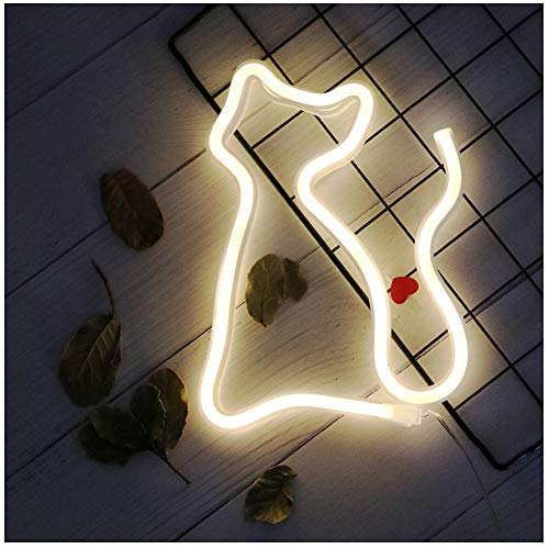 Cat LED Neon Sign Night Light Cat Motif Table Wall Decor Light Best Gift for Family Birthday Holiday Party (Cat) ()