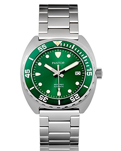 Dial Green Bezel (Pantor Sealion 300m Automatic 42mm Pro dive watch with Helium Valve Rotating Bezel Sapphire green dial stainless steel bracelet & rubber strap sports watch)