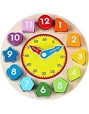 Jacootoys Houten Vorm Sorterend Klok Speelgoed met Nummer Leerklokken Educatief Spel Montessori Cadeau voor Kinderen Jongens Meisje