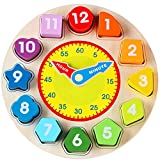 Jacootoys Wooden Shape Sorting Clock Toy with Number and Shape Educational Game for Children