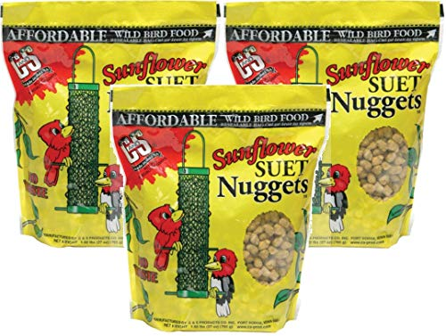 C & S B014HMU86W Sunflower Suet Nuggets, 27-Ounce (Pack of 3), 3 Packs ()