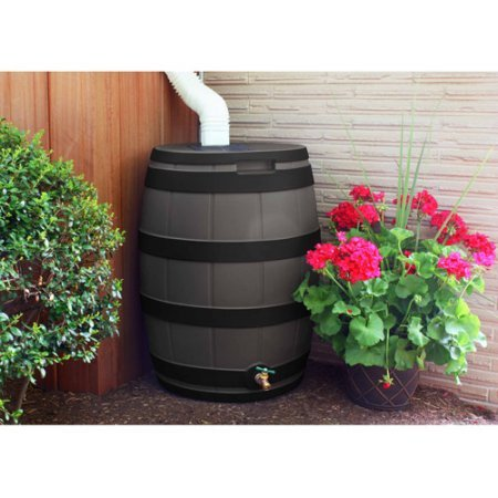 Rain Urn (Good Ideas 50 Gallon Rain Vault, Darkened Ribs, Oak)